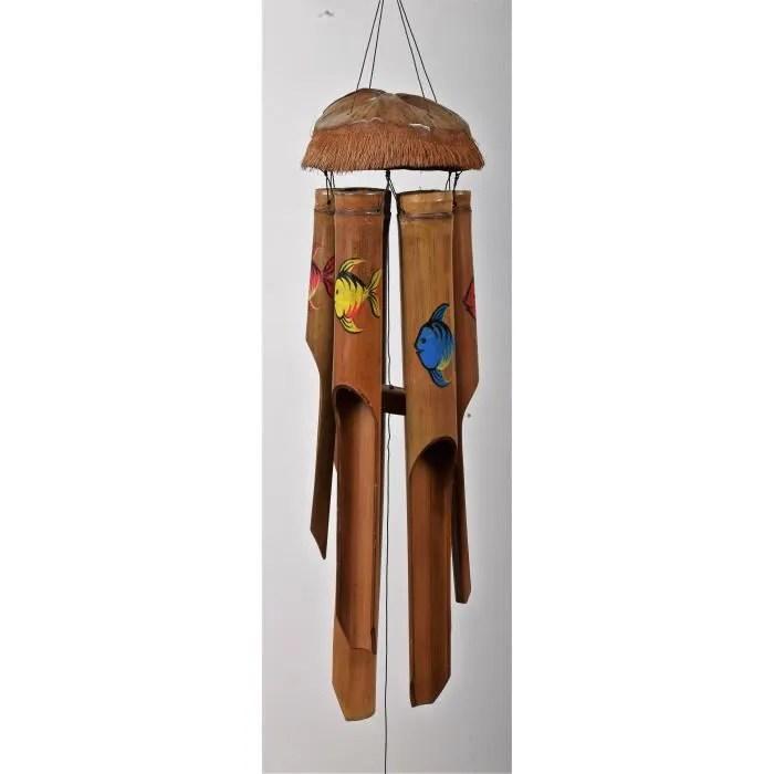 carillon a vent peint poissons bambou 50cm