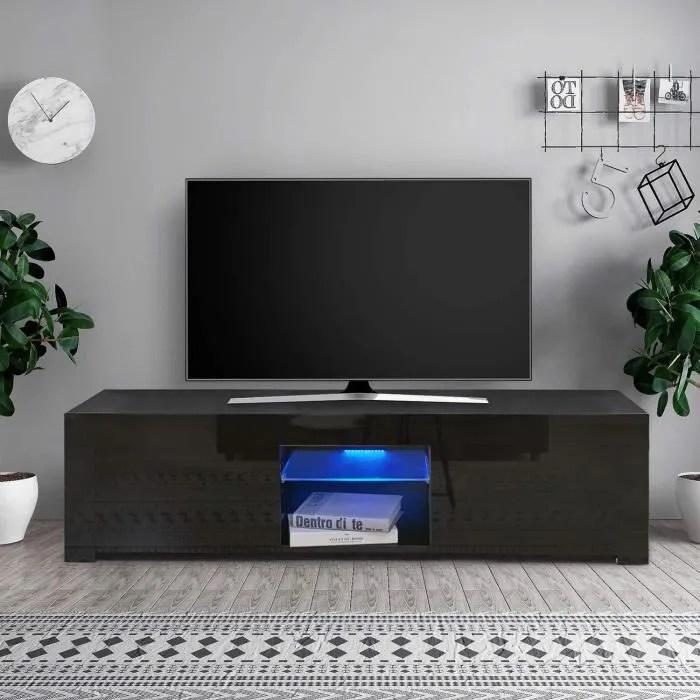 dripex meuble tv led brillant 130 cm noir ar
