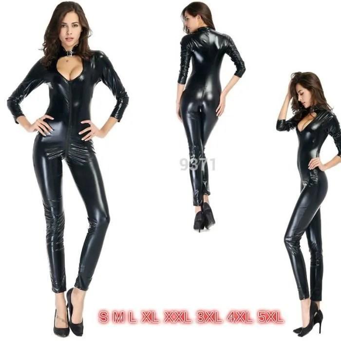 sexy noir catwoman combinaison pvc spandex latex c