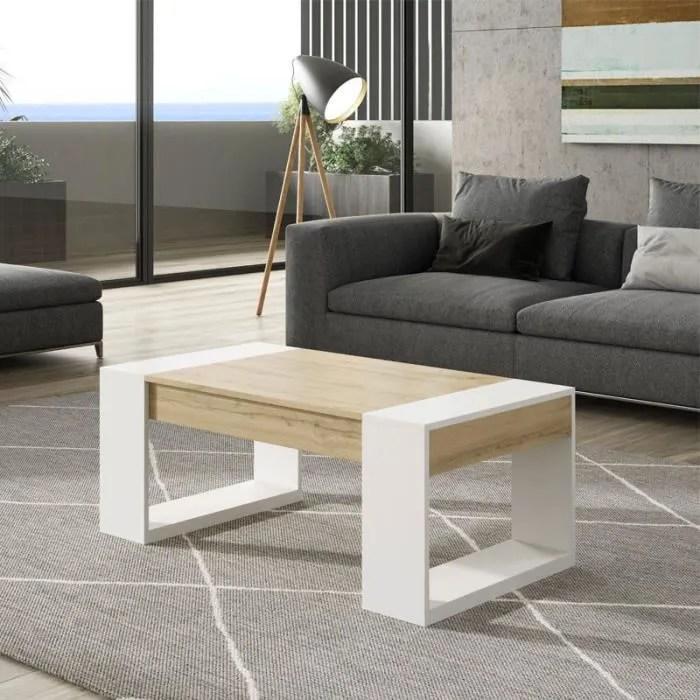 table basse relevable chene blond bois blanc plamor l 110 x l 60 x h 44 58