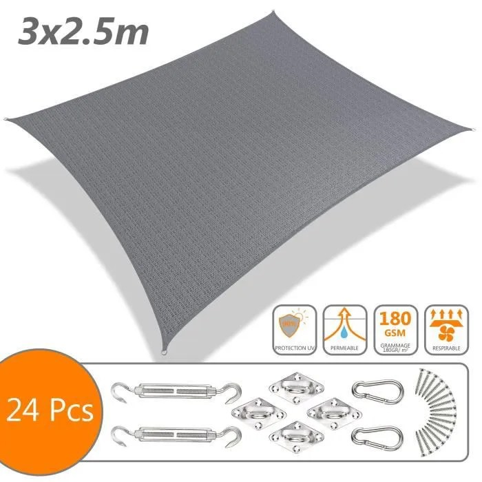 voile d ombrage rectangulaire avec 24pcs kit de fixation 3x2 5m gris