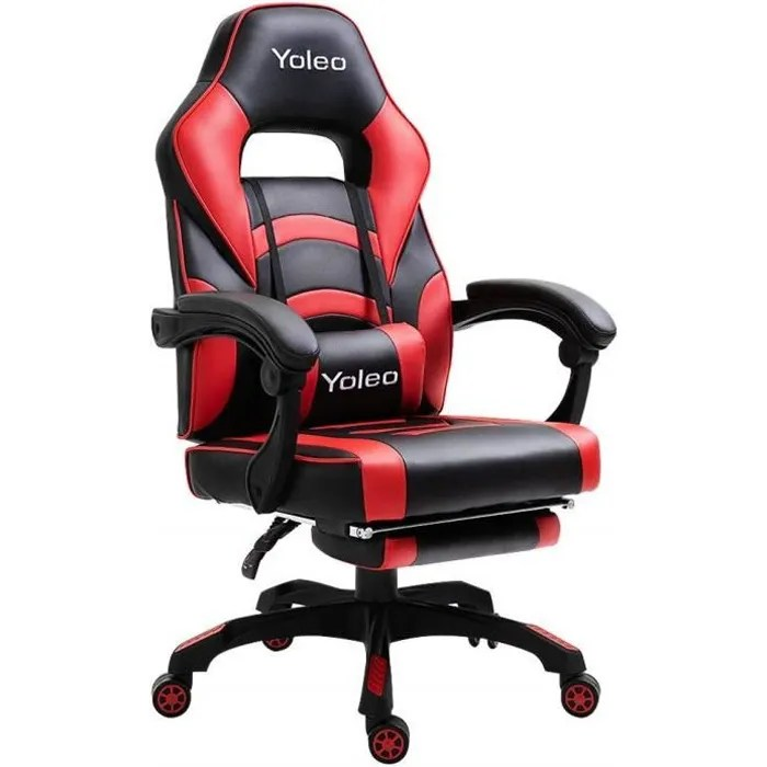 yoleo chaise gamer fauteuil de bureau fauteuil gamer chaise de bureau inclinable 135 rotation 360 rouge et noir en pu