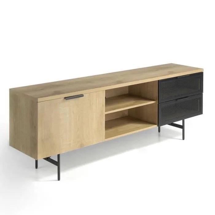 meuble tv 1 porte 2 tiroirs 2 niches chene noir