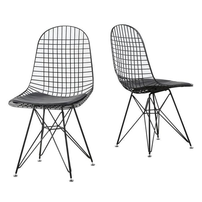 hj lot de 2 chaises de salle a manger metal noir industriel 48x46x86cm