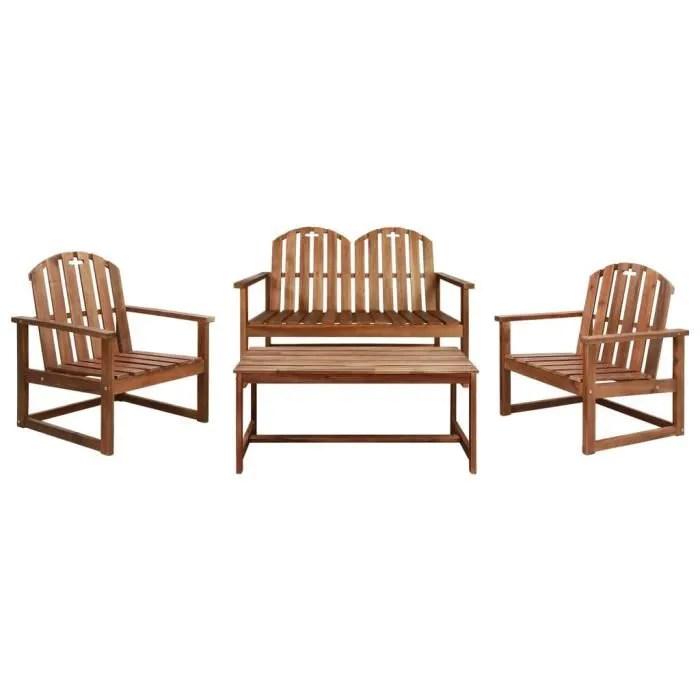 mobilier d exterieur 4 pcs bois d acacia solide sa
