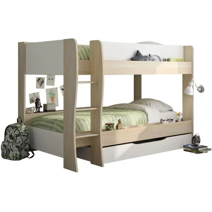 riou lit superpose avec tiroir made in france decor chene clair et blanc sommiers inclus 2x90x200 cm