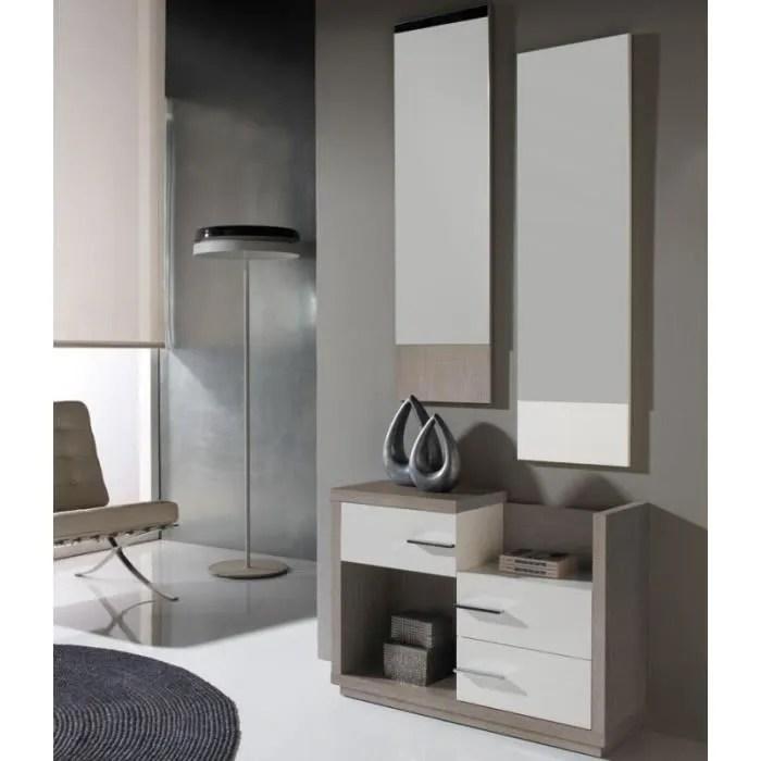meuble d entree blanc chene clair miroirs colby l 90 x l 29 x h 63 5