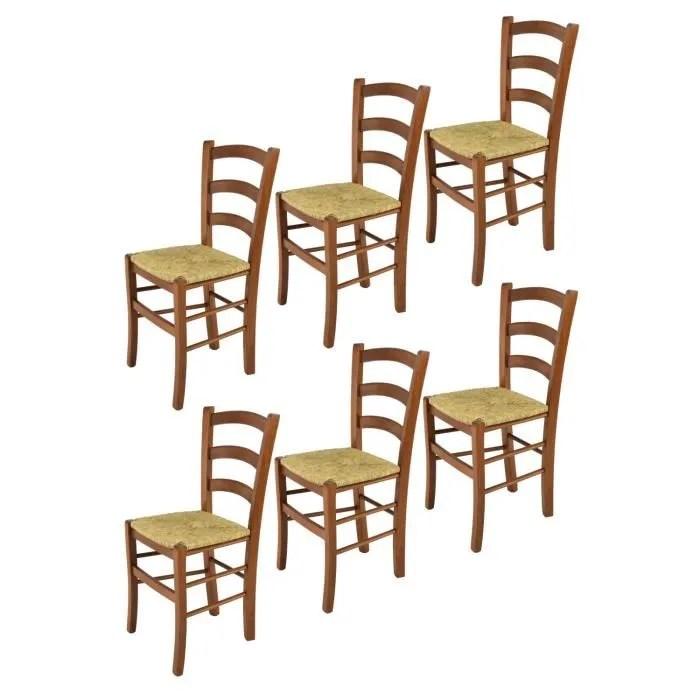 tommychairs set 6 chaises cuisine venice robuste structure en bois de hetre peindre en couleur noyer clair et assise en paille
