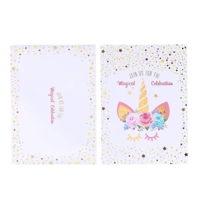 24pcs carte d invitation d anniversaire de licorne