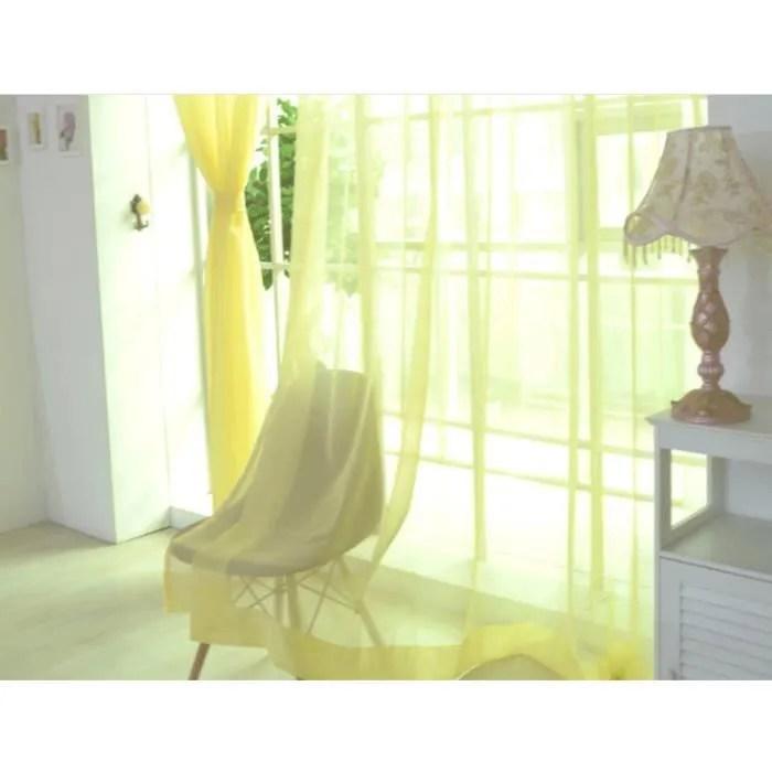 paire de rideaux en voile uni pas cher voilage de salon transparent tour de decoration de chambre rideau voilage occultant ete jaune