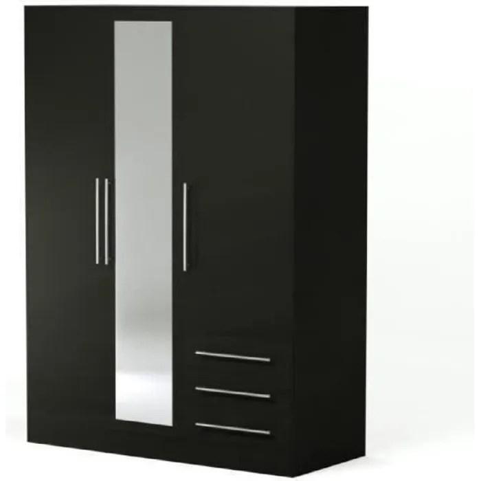 jupiter armoire de chambre style contemporain en bois agglomere noir l 144 6 cm