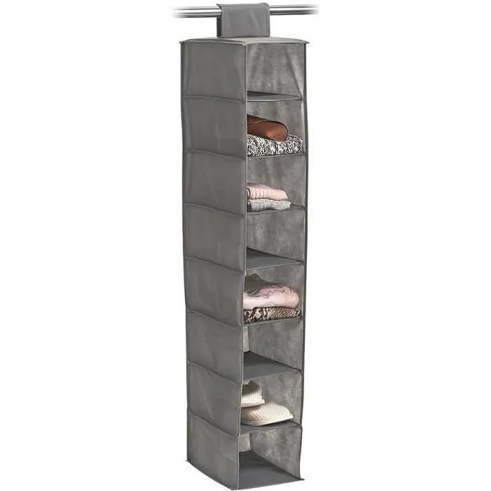etagere de rangement en tissu a suspendre 8 casiers zeller