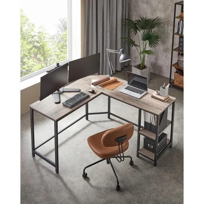 vasagle bureau d angle 138 x 138 x 75 cm table informatique avec etagere de rangement style industriel grege et noir lwd72mb