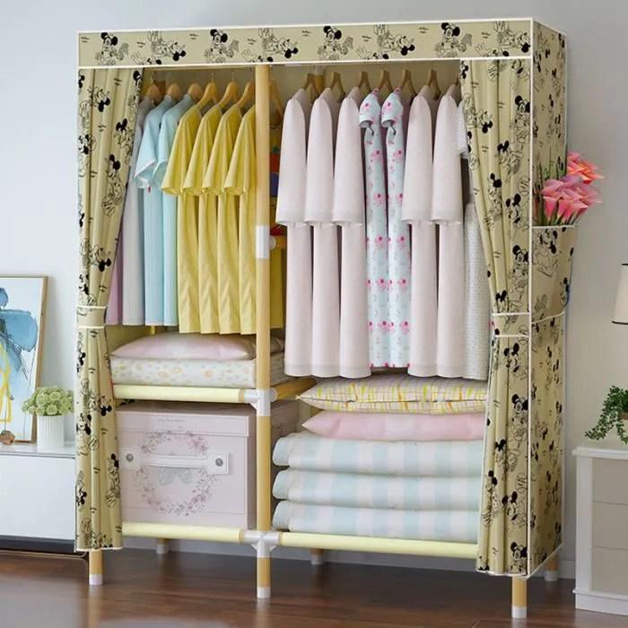 armoire penderie imprimee 100 45 150 cm assembler la garde robe armoire de vetement de rangement 3 compartiments l zs7919