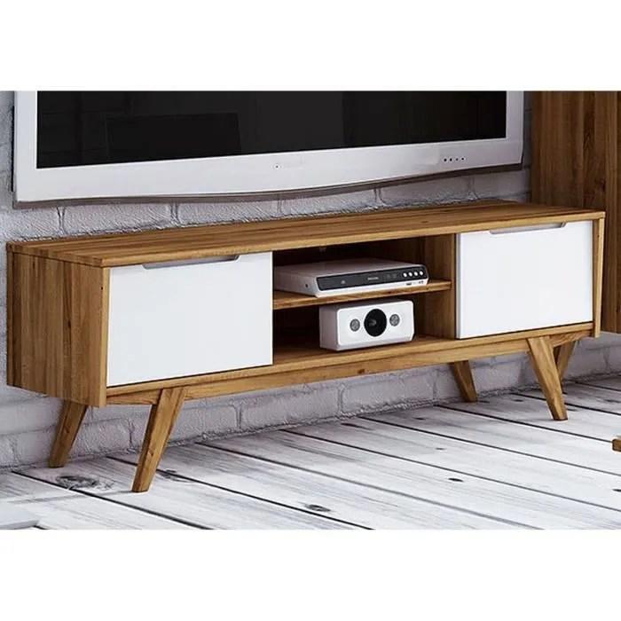 meuble tv bois de chene sauvage huile bois natu
