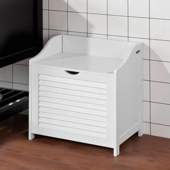 sobuy fsr40 w panier a linge avec sac amovible armoire de salle de bain banc de rangement