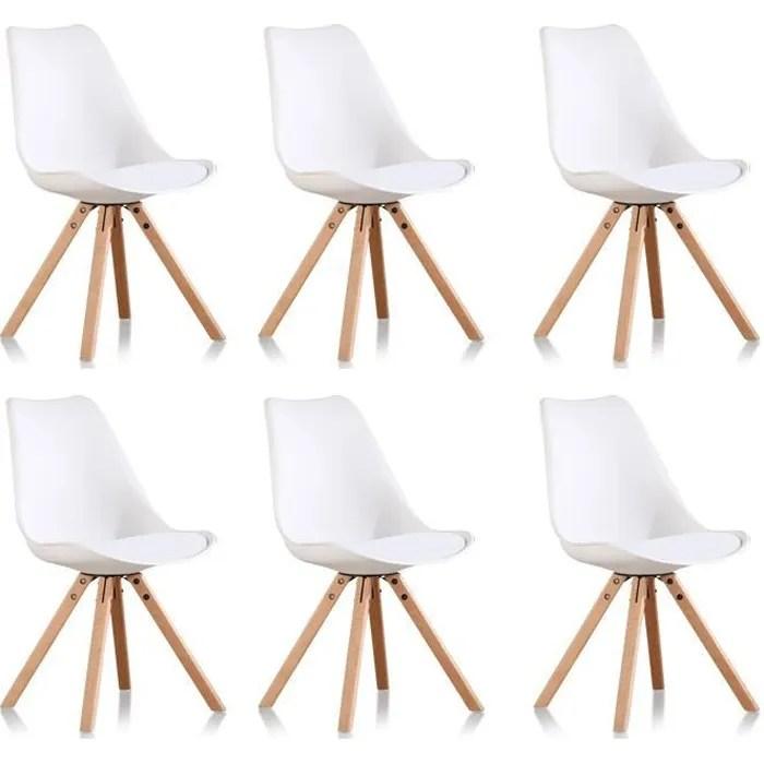 lot de 6 chaises scandinaves blanches helsinki designetsamaison