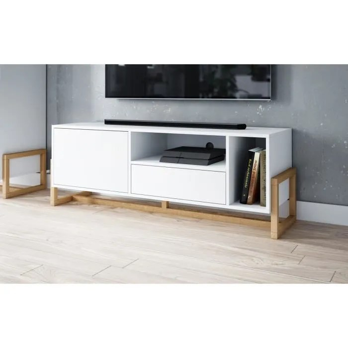 meuble tv blanc scandinave meuble tv