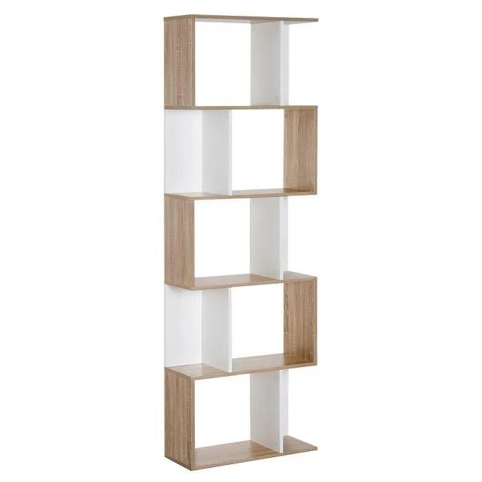 bibliotheque etagere meuble de rangement design contemporain en s 5 etageres 60l x 24l x 185h cm coloris chene blanc 50 60x24x185cm