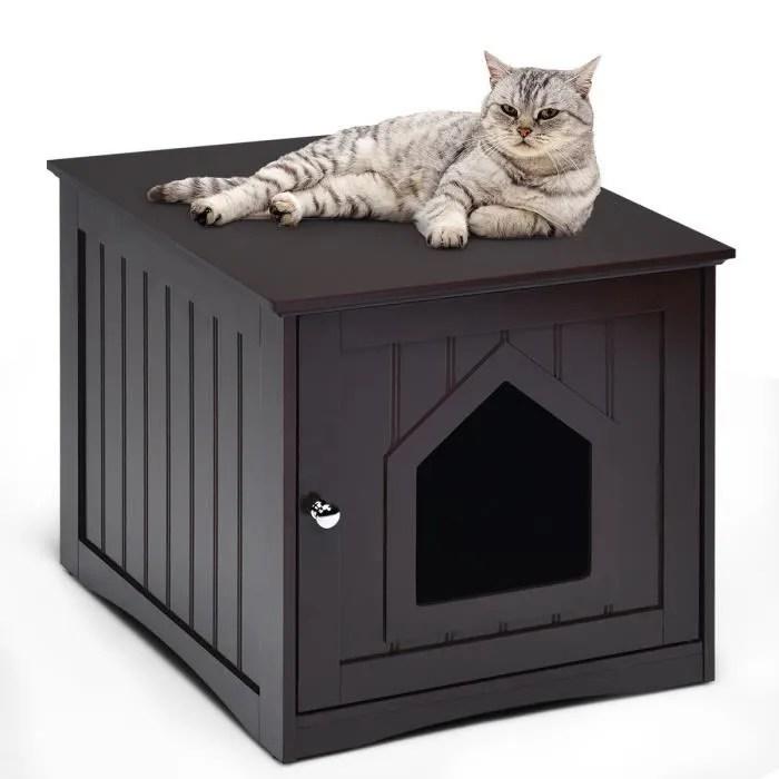 costway maison niche pour chat 51 x