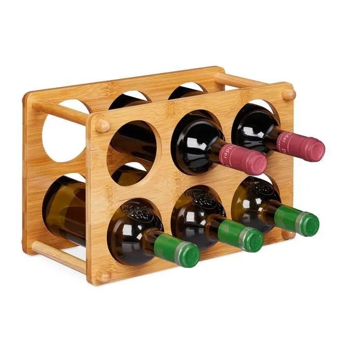 relaxdays etagere a vin 6 bouteilles support a vin pour la cuisine cave salon rangement a vin 21x32x18 5 cm nature