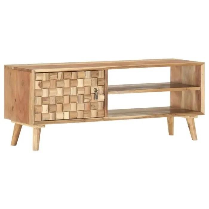 vidaxl meuble tv 100x35x40 cm bois d acacia massif