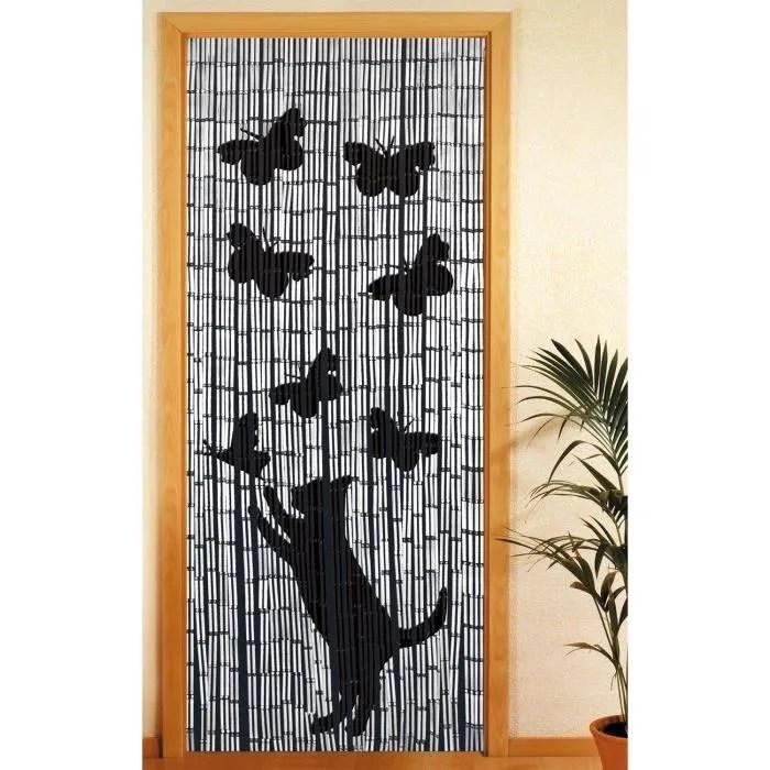 rideau en bambou chat et papillon motif colore
