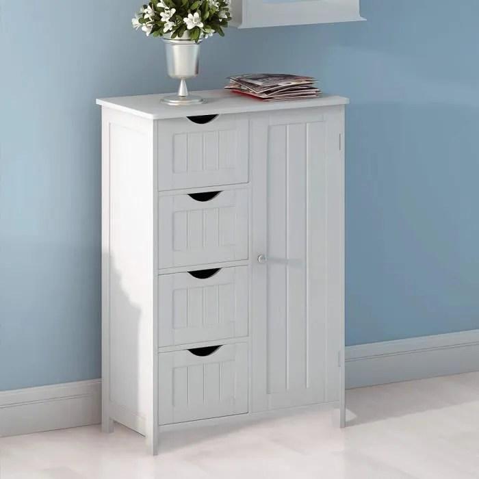 keisha meubles de rangement commode armoire blanche pour chambre salle de bain avec 4 tiroirs et 1 porte en mdf
