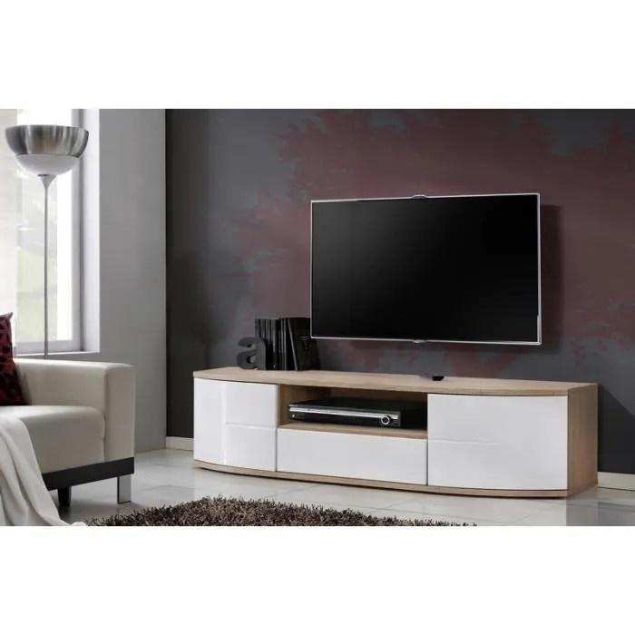 meuble tv banc tv blanc bois kiel