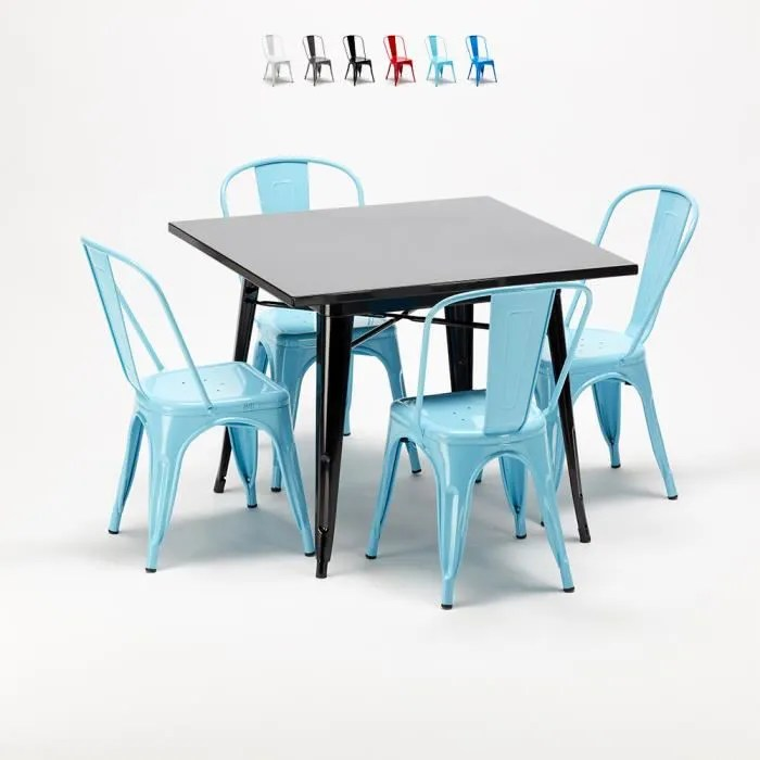 ensemble de table carree en bois chaises en meta