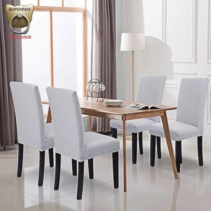 housse de chaise blanc 6 pieces stretch couverture de chaise extensible housse pour chaise haute de salle a manger l hotel