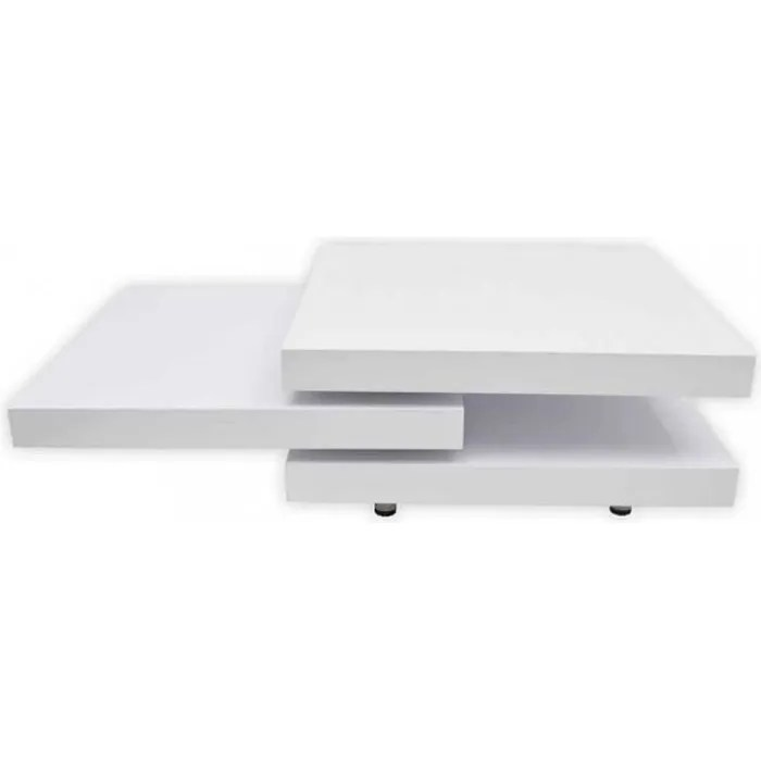tables basses table basse blanc laque carree pivotante 3 plateaux