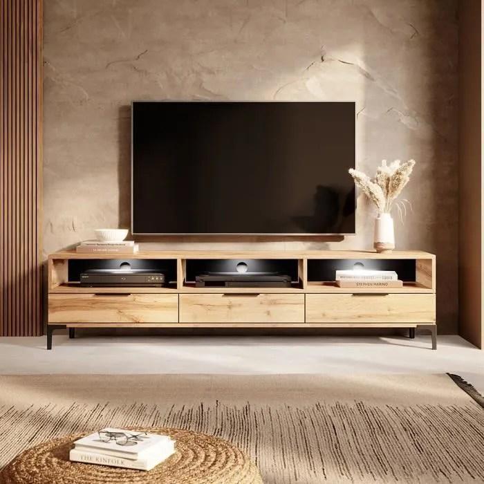 meuble tv rikke 160 cm chene wotan avec led