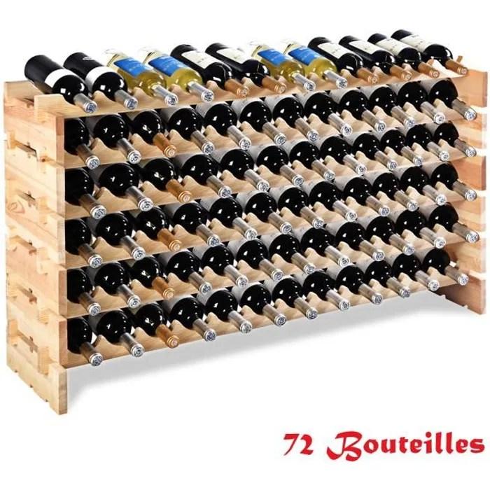 etagere a vin casier a 72 bouteilles en bois de pin robuste modulable 119 x 29 x 71 5 cm