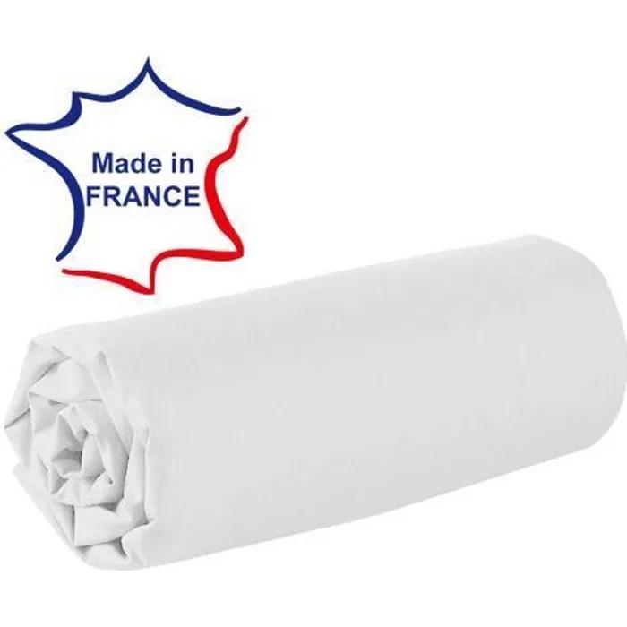Drap Housse 80 X 200 Cm 100 Coton 57 Fils Made In France Blanc Achat Vente Drap Housse Cdiscount