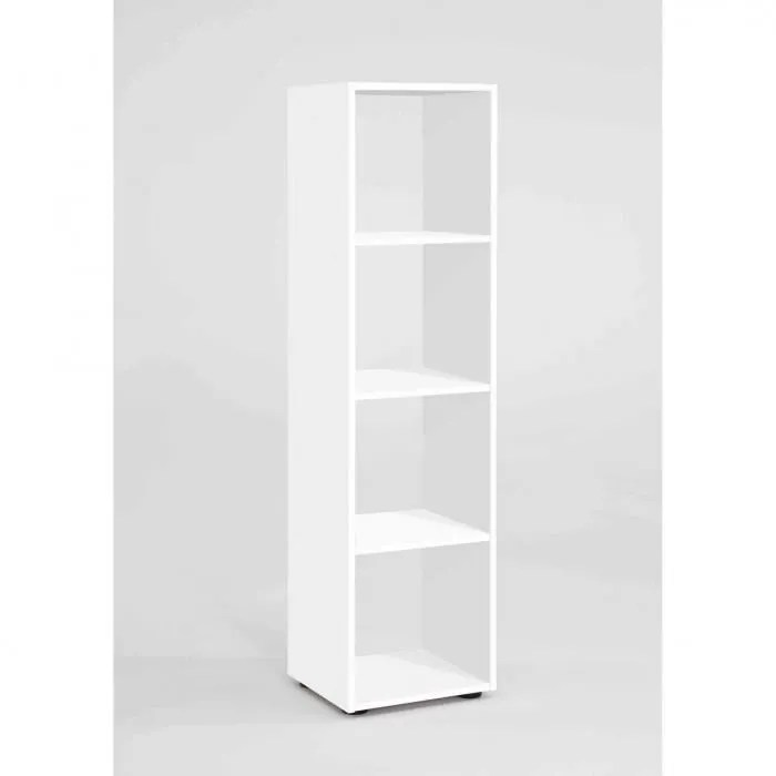 bibliotheque 4 cases en bois blanc bi13010