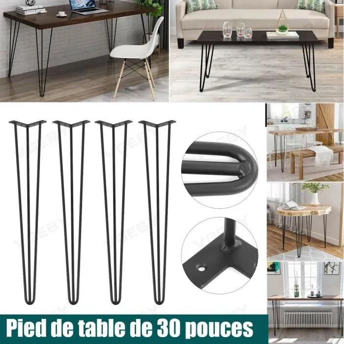 4pcs pieds de table en epingle a cheveux en metal table de meubles bureau en fer massif pour ordinateur portable 30 pouces yes