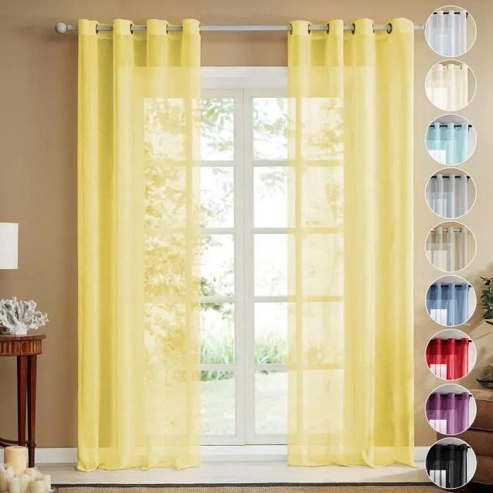topfinel lot de 2 rideaux voilage jaune en effet l