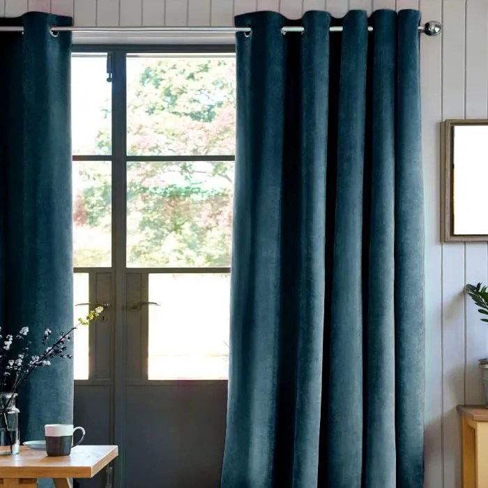 rideau velours 100 polyester bleu intense 140