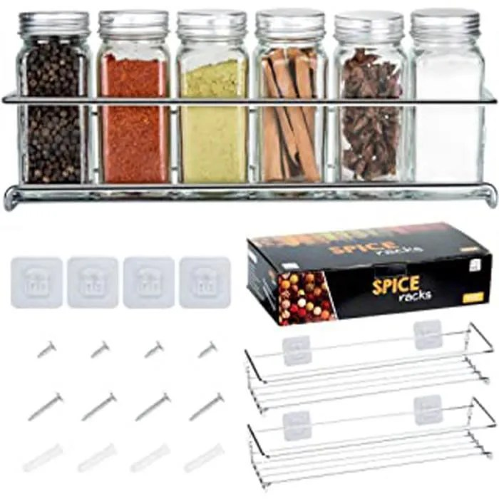set de 2 etageres a epices en metal rangement de cuisine ou placard organisateur d epices compatible avec nos bocaux