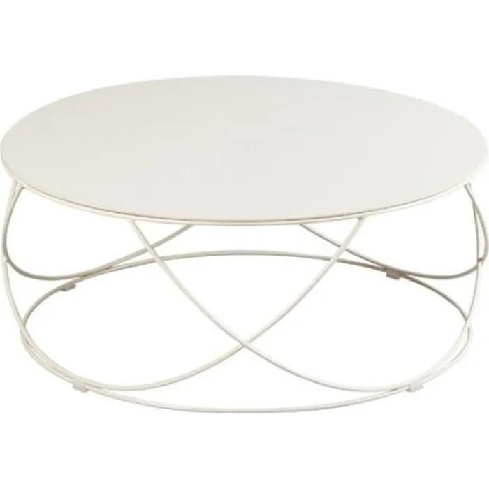 table basse ronde plateau ceramique champagne dallas l 85 x l 85 x h 36 cm