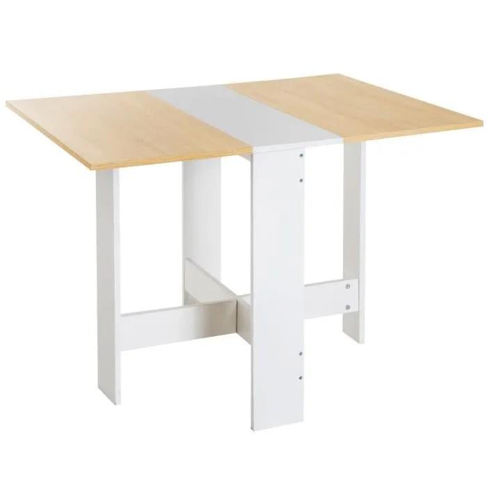 table de cuisine pliable 103l x 76l x 74h cm panneaux particules bicolore chene blanc 47 120x80x80cm blanc