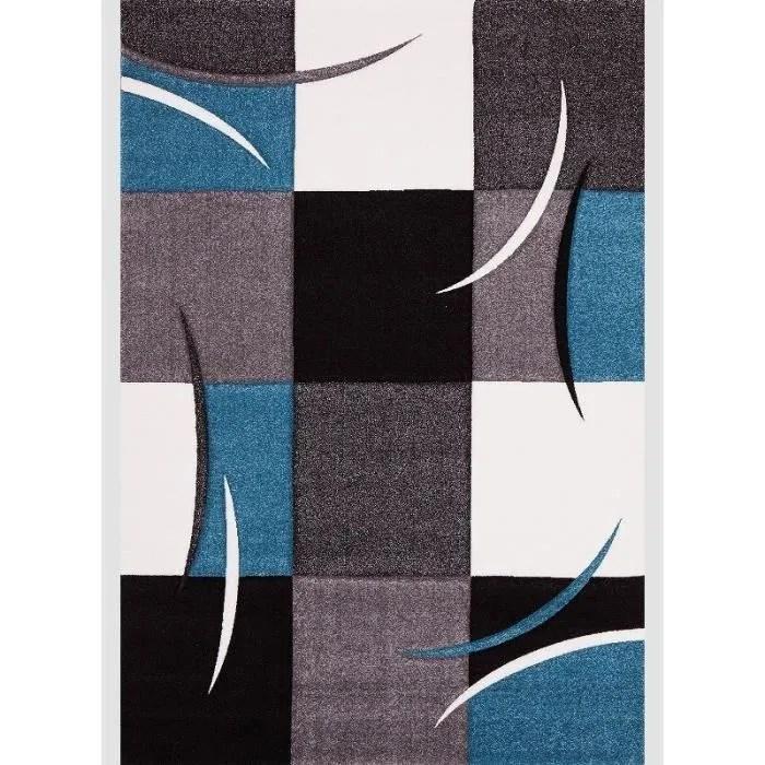 diamond tapis de salon bleu turquoise gris noi