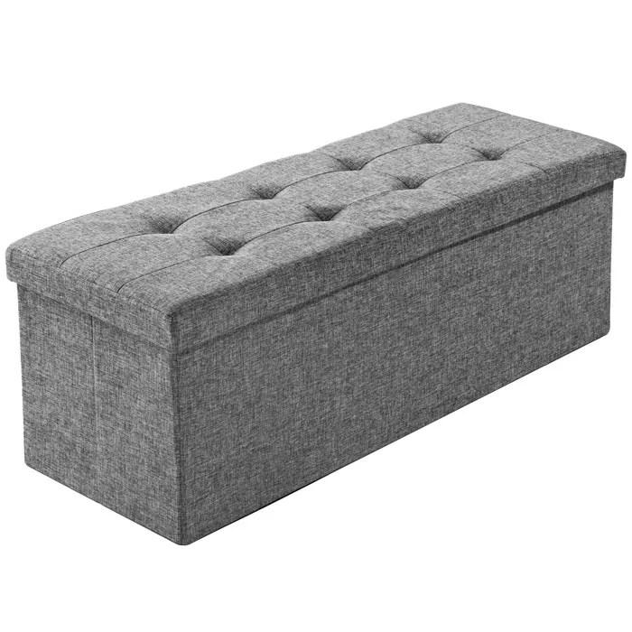tectake tabouret siege banc pouf coffre de rangement rembourre 110 cm x 38 cm x 38 cm gris chine