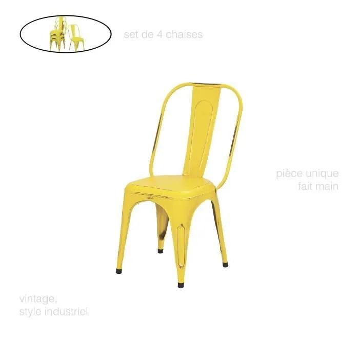 set de 4 chaise metal couleur chaise