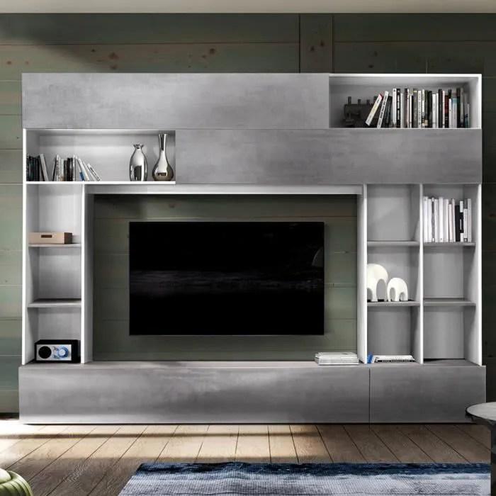 mur tv design gris effet beton et blanc perdita gr
