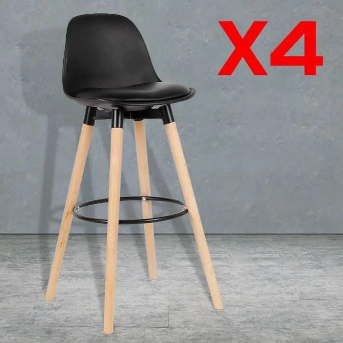 lot de 4 chaises de bar noir pieds en hetre massif chaise de salle a manger chaise de cafe