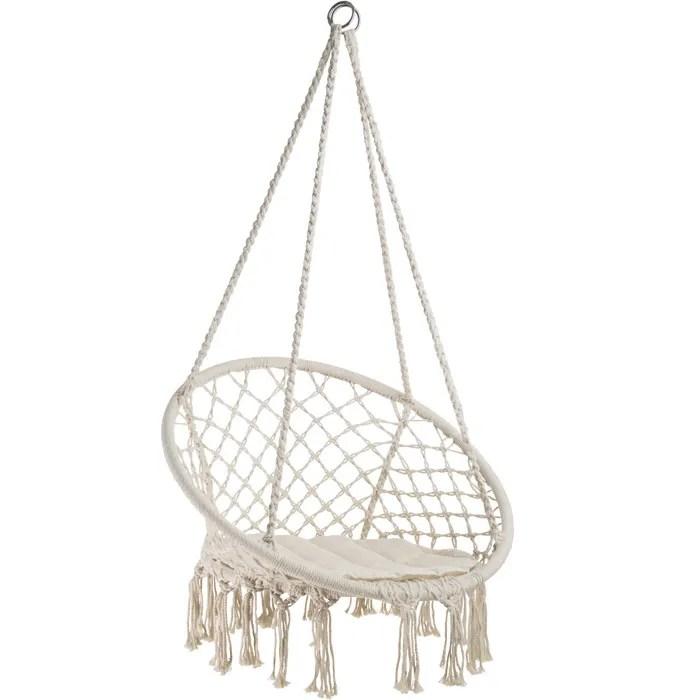 tectake hamac chaise suspendu 1 personne interieur exterieur en coton beige 80 cm x 60 cm x 135 cm