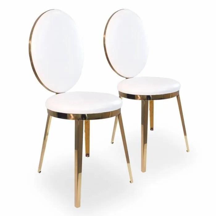lot de 2 chaises medaillon laura metal