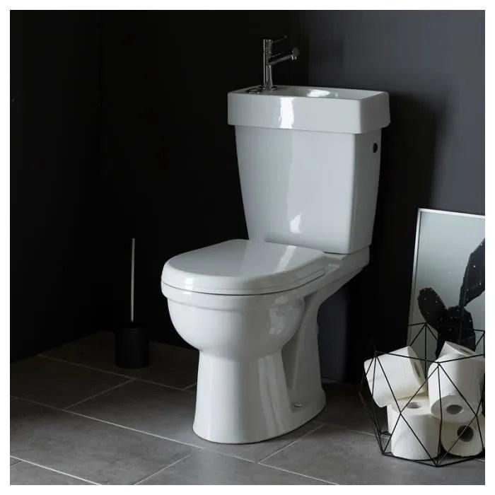 Pack Wc Avec Lave Mains Integre Gain De Place Sortie Horizontale Achat Vente Wc Toilettes 214005 Pack Wc Avec Lave Cdiscount